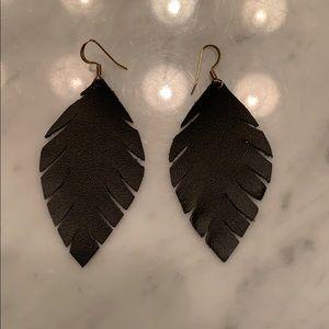 Jewelry - Handmade red leather earrings